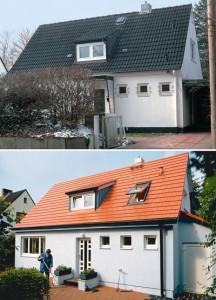 Haus vor und nach der Dämmung mit WDVS